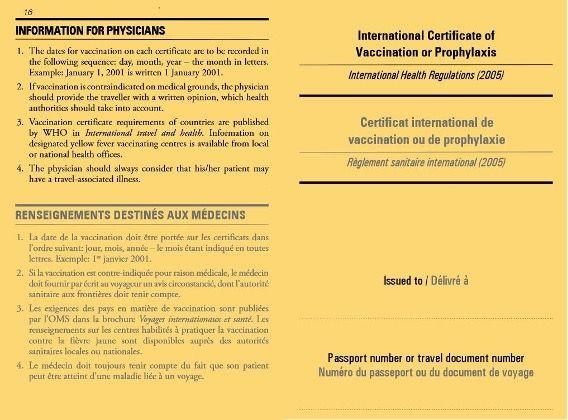 Pasaporte Covid o Tarjeta Amarilla